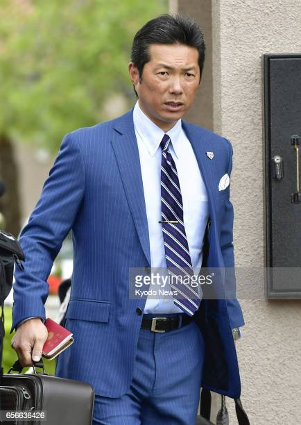 Hiroki Kokubo manager of Japan's World Baseball Classic team prepares to return home from Los Angeles on March 22 a day after his side lost to the...