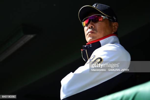 Hiroki Kokubo of Japan looks on during the SAMURAI JAPAN Friendly Opening Match between SAMURAI JAPAN and Fukuoka SoftBank HAWKS at the Sun Marine...
