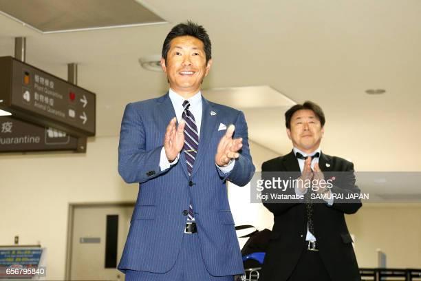 Hiroki Kokubo of Japan talks to players on arrival at Narita International Airport on March 23 2017 in Narita Chiba Japan
