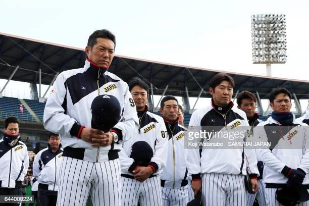 Hiroki Kokubo of Samurai Japan looks on during SAMURAI JAPAN's training camp at the Sun Marine Stadium Miyazaki on February 23 2017 in Miyazaki Japan