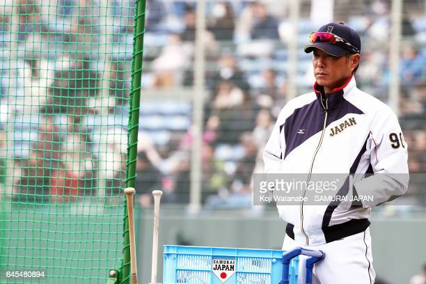 Hiroki Kokubo#90 of Japan look on during SAMURAI JAPAN's training camp at the Sun Marine Stadium Miyazaki on February 26 2017 in Miyazaki Japan