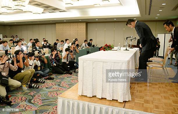 Hiroki Kuroda a 41yearold pitcher of Japanese Central League baseball club Hiroshima Carp sits for a press conference in Hiroshima on Oct 18 2016...