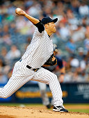 Hiroki Kuroda delivers a pitch against the Tampa Bay Rays during the second inning in a MLB baseball game at Yankee Stadium on July 1 2014 in the...