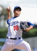 Hiroki Kuroda of the Los Angeles Dodgers pitches against the Pittsburgh Pirates at Dodger Stadium on September 16 2009 in Los Angeles California