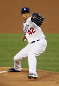 Hiroki Kuroda of the Los Angeles Dodgers pitches in the first inning against the Arizona Diamondbacks at Dodger Stadium on April 15 2010 in Los...