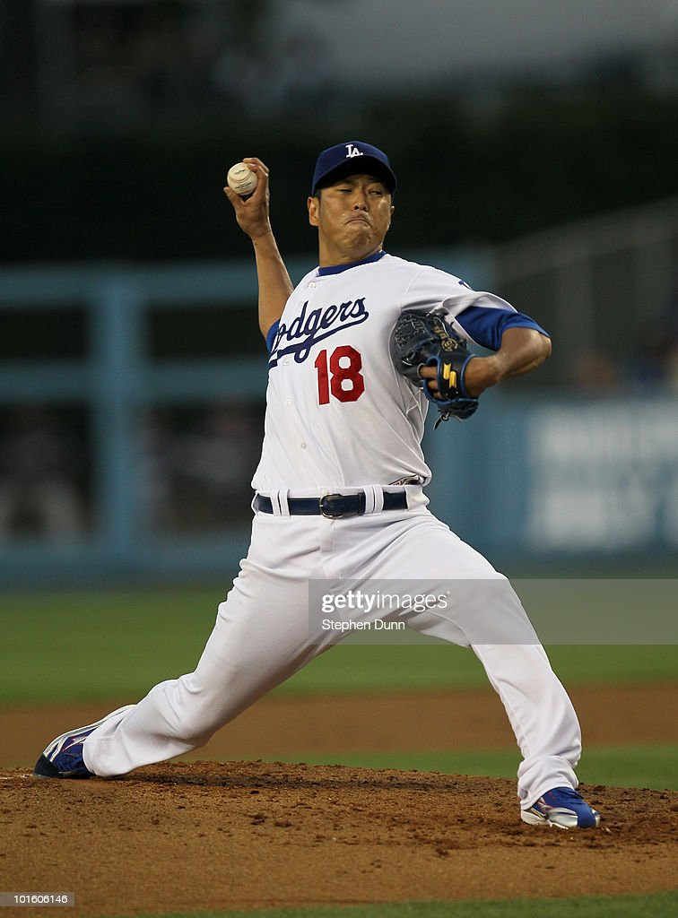 Hiroki Kuroda of the Los Angeles Dodgers throws a pitch against the Atlanta Braves on June 3 2010 at Dodger Stadium in Los Angeles California