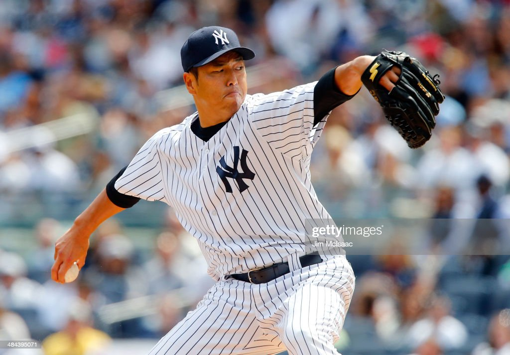 <a gi-track='captionPersonalityLinkClicked' href=/galleries/search?phrase=Hiroki+Kuroda&family=editorial&specificpeople=5498664 ng-click='$event.stopPropagation()'>Hiroki Kuroda</a> #18 of the New York Yankees delivers a first inning pitch against the Boston Red Sox at Yankee Stadium on April 12, 2014 in the Bronx borough of New York City.
