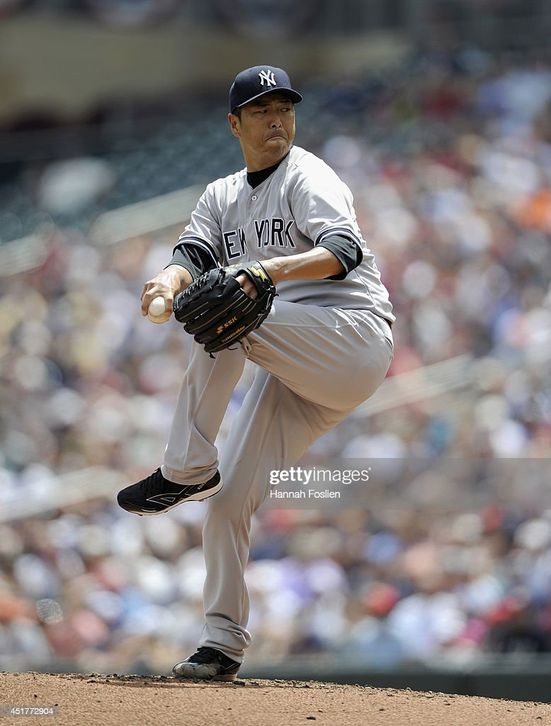 <a gi-track='captionPersonalityLinkClicked' href=/galleries/search?phrase=Hiroki+Kuroda&family=editorial&specificpeople=5498664 ng-click='$event.stopPropagation()'>Hiroki Kuroda</a> #18 of the New York Yankees delivers a pitch against the Minnesota Twins during the first inning of the game on July 6, 2014 at Target Field in Minneapolis, Minnesota.