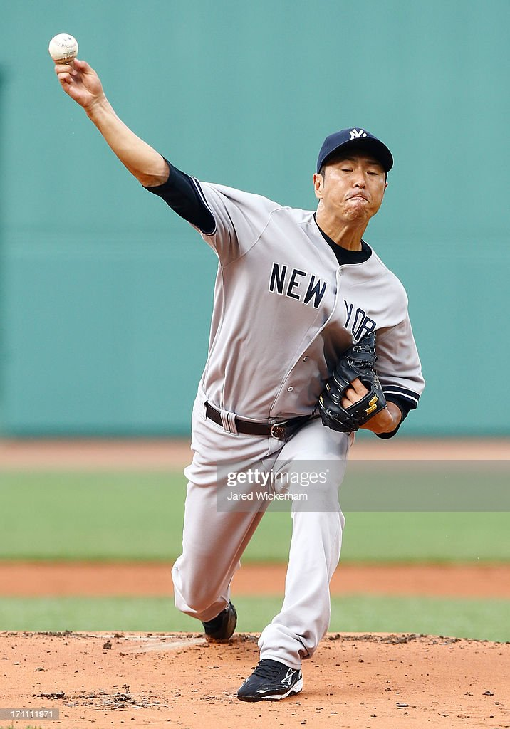 Hiroki Kuroda #18 of the New York Yankees pitches against the Boston Red Sox during the game on July 20, 2013 at Fenway Park in Boston, Massachusetts.