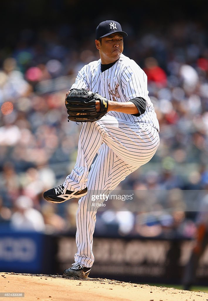 <a gi-track='captionPersonalityLinkClicked' href=/galleries/search?phrase=Hiroki+Kuroda&family=editorial&specificpeople=5498664 ng-click='$event.stopPropagation()'>Hiroki Kuroda</a> #18 of the New York Yankees pitches against the Cincinnati Reds during their game at Yankee Stadium on July 19, 2014 in the Bronx borough of New York City.
