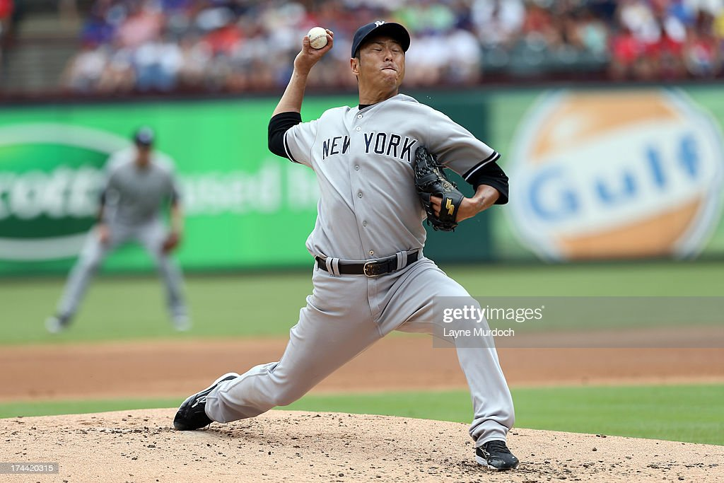 <a gi-track='captionPersonalityLinkClicked' href=/galleries/search?phrase=Hiroki+Kuroda&family=editorial&specificpeople=5498664 ng-click='$event.stopPropagation()'>Hiroki Kuroda</a> #18 of the New York Yankees pitches against the Texas Rangers on July 25, 2013 at the Rangers Ballpark in Arlington in Arlington, Texas.