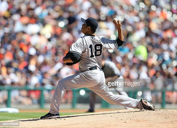 Hiroki Kuroda of the New York Yankees pitches during the first inning of the game against the Detroit Tigers at Comerica Park on August 28 2014 in...