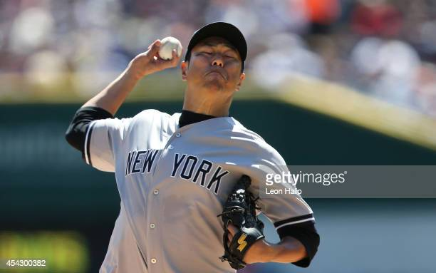 Hiroki Kuroda of the New York Yankees pitches during the fourth inning of the game against the Detroit Tigers at Comerica Park on August 28 2014 in...