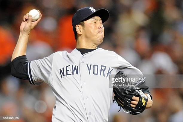 Hiroki Kuroda of the New York Yankees pitches in second inning during a baseball game against the Baltimore Orioles on September 14 2014 at Oriole...