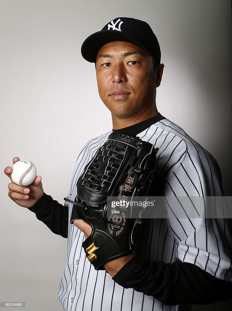 Hiroki Kuroda #18 of the New York Yankees poses for a portrait on February 20, 2013 at George Steinbrenner Stadium in Tampa, Florida.