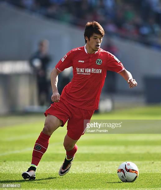 Hiroki Sakai in action of Hannover during the Bundesliga match between Hannover 96 and Hamburger SV at HDIArena on April 2 2016 in Hanover Germany