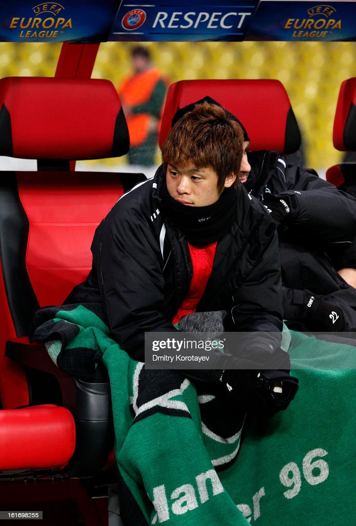 <a gi-track='captionPersonalityLinkClicked' href=/galleries/search?phrase=Hiroki+Sakai&family=editorial&specificpeople=7728461 ng-click='$event.stopPropagation()'>Hiroki Sakai</a> of Hannover 96 sits on the bench ahead of the UEFA Europa League Round of 32 first leg match between FC Anji Makhachkala and Hannover 96 at the Luzhniki Stadium on February 14, 2013 in Moscow, Russia.