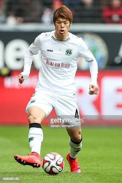 Hiroki Sakai of Hannover controls the ball during the Bundesliga match between Eintracht Frankfurt and Hannover 96 at CommerzbankArena on April 4...