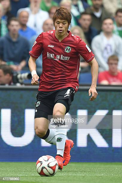 Hiroki Sakai of Hannover controls the ball during the Bundesliga match between Hannover 96 and SV Werder Bremen at HDIArena on May 9 2015 in Hanover...