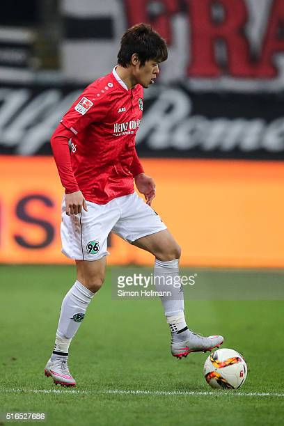 Hiroki Sakai of Hannover controls the ball during the Bundesliga match between Eintracht Frankfurt and Hannover 96 at CommerzbankArena on March 19...