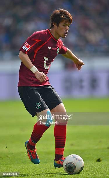 Hiroki Sakai of Hannover in action during the Bundesliga match between Hannover 96 and Hamburger SV at HDIArena on April 12 2014 in Hanover Germany