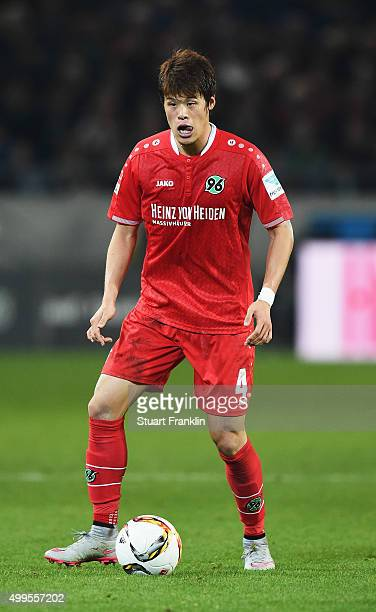 Hiroki Sakai of Hannover in action during the Bundesliga match between Hannover 96 and Hertha BSC at HDIArena on November 6 2015 in Hanover Germany
