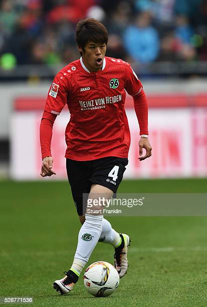 Hiroki Sakai of Hannover in action during the Bundesliga match between Hannover 96 and FC Schalke 04 at the HDI Arena on April 30 2016 in Hanover...