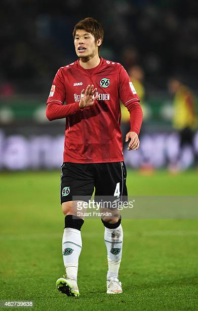 Hiroki Sakai of Hannover in action during the Bunsliga match between Hannover 96 and 1 FSV Mainz 05 at HDIArena on February 3 2015 in Hanover Germany