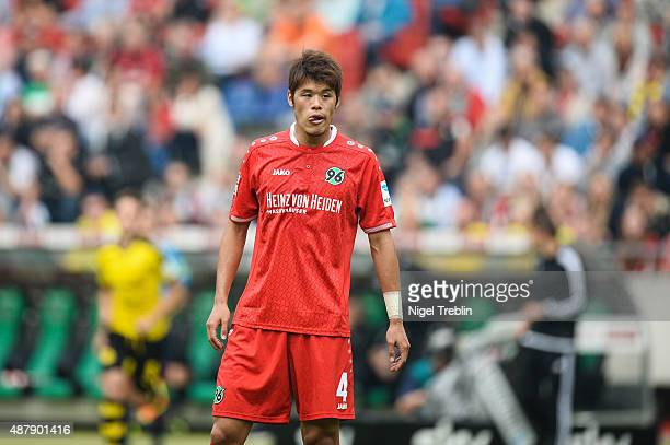 Hiroki Sakai of Hannover is pictured during the Bundesliga match between Hannover 96 and Borussia Dortmund at HDIArena on September 12 2015 in...
