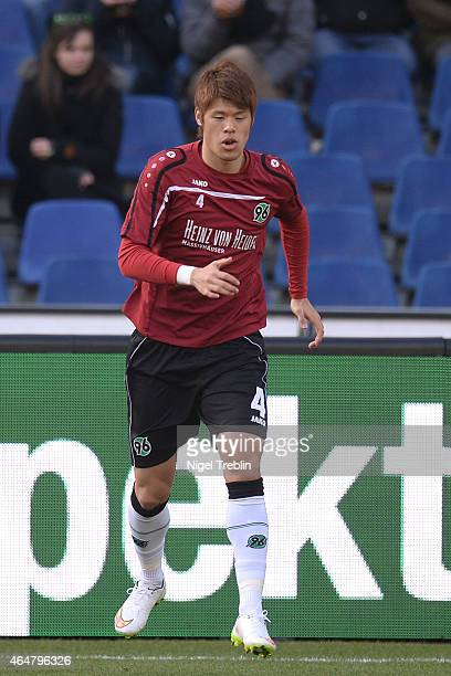 Hiroki Sakai of Hannover is pictured prior to the Bundesliga match between Hannover 96 and VfB Stuttgart at HDIArena on February 28 2015 in Hanover...