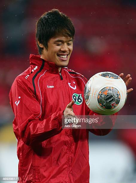 Hiroki Sakai of Hannover looks on prior to the Bundesliga match between 1 FSV Mainz 05 and Hannover 96 at Coface Arena on February 14 2014 in Mainz...