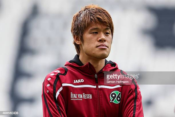Hiroki Sakai of Hannover looks on prior to the Bundesliga match between Eintracht Frankfurt and Hannover 96 at CommerzbankArena on April 4 2015 in...