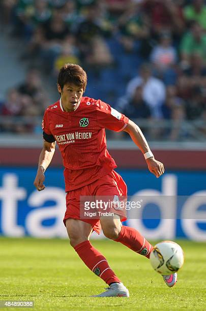 Hiroki Sakai of Hannover plays the ball during the Bundesliga match between Hannover 96 and Bayer 04 Leverkusen at HDIArena on August 22 2015 in...