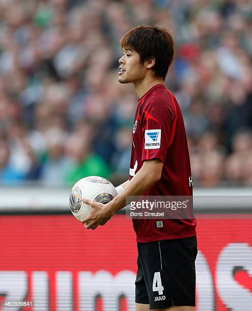 Hiroki Sakai of Hannover reacts during the Bundesliga match between Hannover 96 and Werder Bremen at HDIArena on March 23 2014 in Hanover Germany