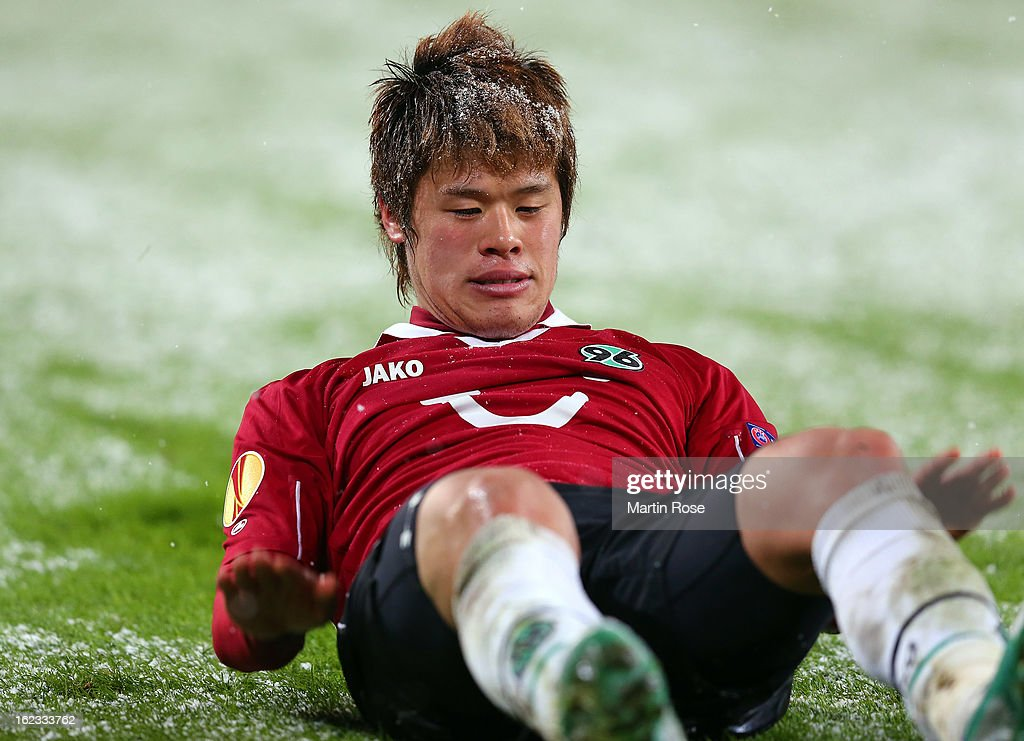 Hiroki Sakai of Hannover reacts during the UEFA Europa League Round of 32 second leg match between Hannover 96 and Anji Makhachkala at AWD Arena on February 21, 2013 in Hannover, Germany.