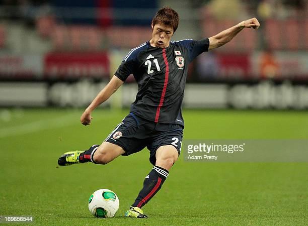 Hiroki Sakai of Japan controls the ball during the Japan vs Bulgaria international friendly football match at Toyota Stadium on May 30 2013 in Toyota...