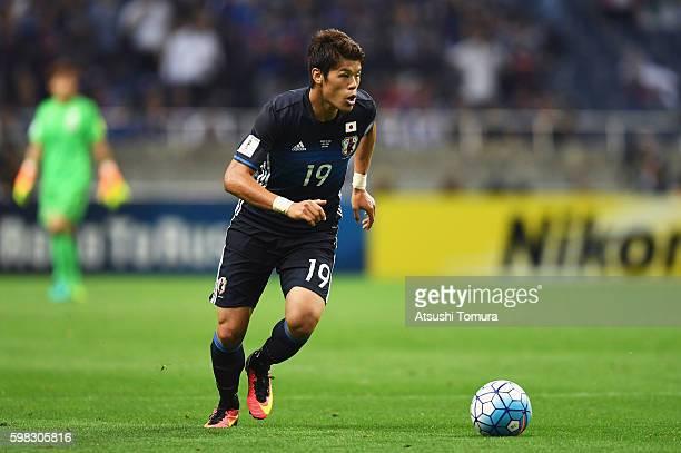 Hiroki Sakai of Japan in action during the 2018 FIFA World Cup Qualifier Final Round Group B match between Japan and United Arab Emirates at Saitama...