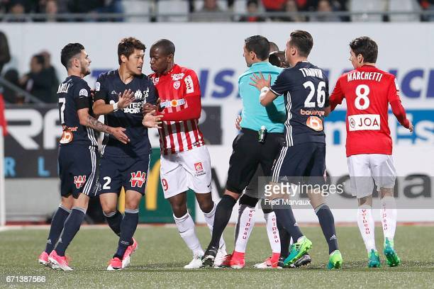 Hiroki Sakai of Marseille and Junior Maurice Dale of Nancy during the Ligue 1 match between AS NancyLorraine and Olympique de Marseille at Stade...