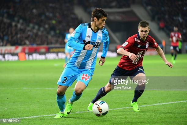 Hiroki Sakai of Marseille and Nicolas De Preville of Lille during the Ligue 1 match between Lille OSC and Olympique de Marseille at Stade Pierre...