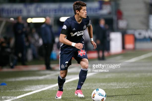 Hiroki Sakai of Marseille during the Ligue 1 match between AS NancyLorraine and Olympique de Marseille at Stade Marcel Picot on April 21 2017 in...