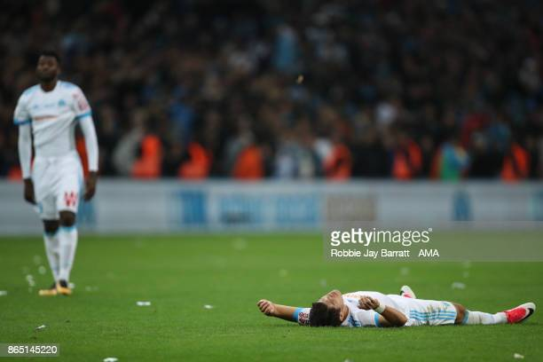 Hiroki Sakai of Marseille reacts at full time during the Ligue 1 match between Olympique Marseille and Paris Saint Germain at Stade Velodrome on...