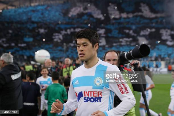 Hiroki Sakai of Olympique de Marseille during the French Ligue 1 match Marseille and Paris Saint Germain at Stade Velodrome on February 26 2017 in...