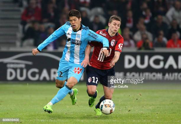 Hiroki Sakai of OM and Nicolas de Preville of Lille in action during the French Ligue 1 match between Lille OSC and Olympique de Marseille at Stade...