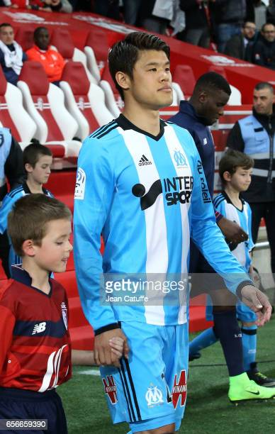 Hiroki Sakai of OM enters the pitch for the French Ligue 1 match between Lille OSC and Olympique de Marseille at Stade PierreMauroy on March 17 2017...
