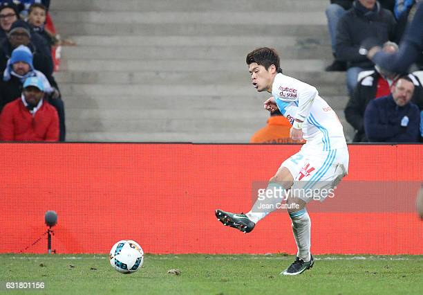 Hiroki Sakai of OM in action during the French Ligue 1 match between Olympique de Marseille and AS Monaco at Stade Velodrome on January 15 2017 in...