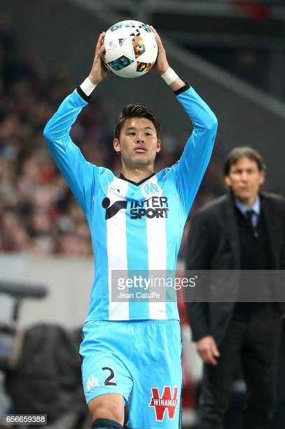 Hiroki Sakai of OM in action during the French Ligue 1 match between Lille OSC and Olympique de Marseille at Stade PierreMauroy on March 17 2017 in...
