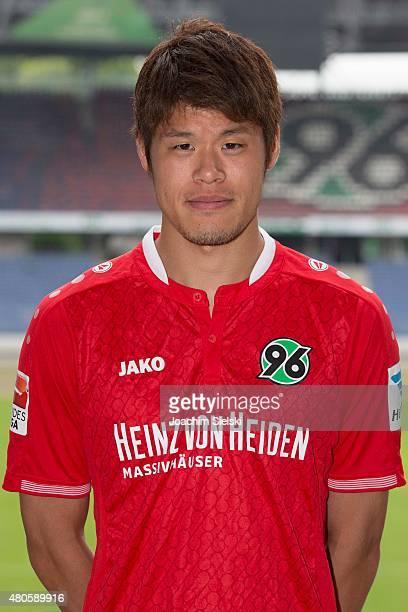Hiroki Sakai poses during the team presentation of Hannover 96 at HDIArena on July 13 2015 in Hanover Germany