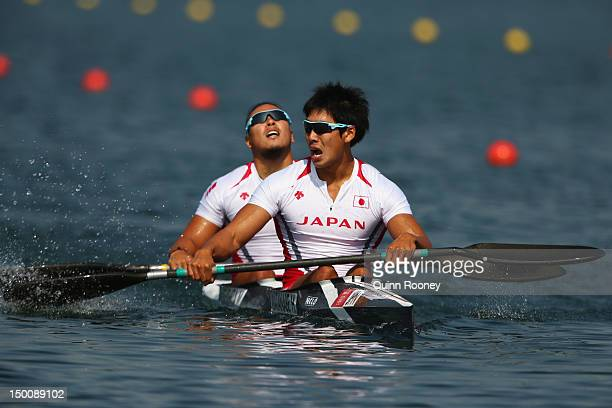 Hiroki Watanabe and Momotaro Matsushita of Japan compete in the Men's Kayak Double 200m Canoe Sprint heats on Day 14 of the London 2012 Olympic Games...
