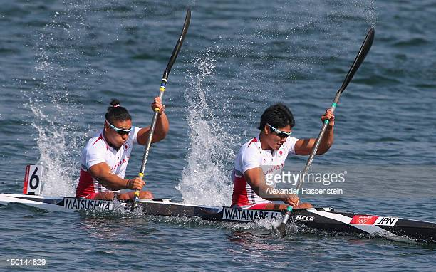 Hiroki Watanabe and Momotaro Matsushita of Japan compete in the Men's Kayak Double 200m Canoe Sprint Final B on Day 15 of the London 2012 Olympic...