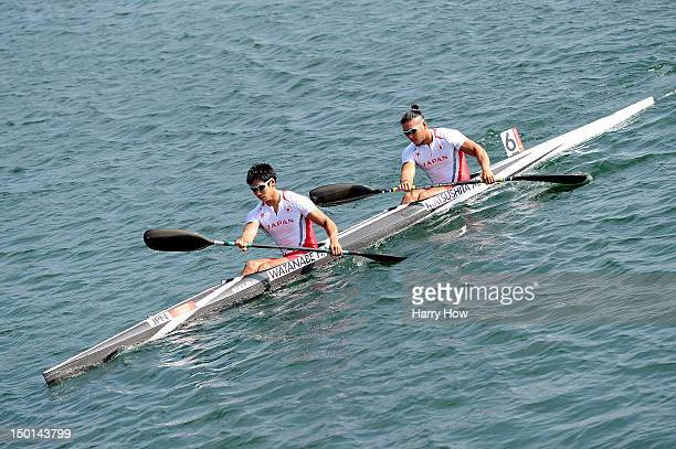 Hiroki Watanabe and Momotaro Matsushita of Japan warm up ahead of the Men's Kayak Double 200m Canoe Sprint on Day 15 of the London 2012 Olympic Games...